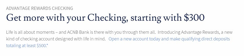 ACNB Bank $300 Checking Promotion