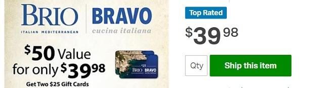 Bravo Cucina Italiana Sam's Club GC Promotion