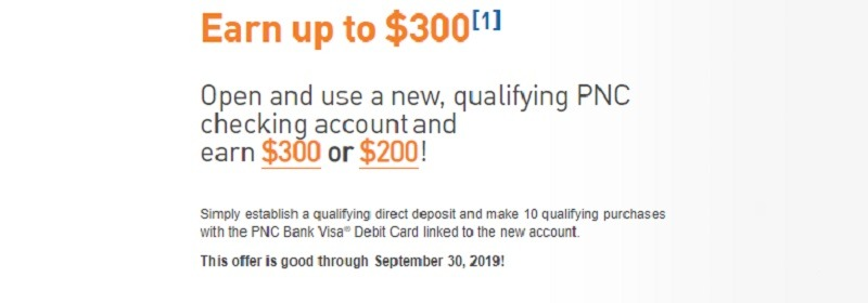 PNC Bank Promotions September 2019: $50, $200, $300, $500
