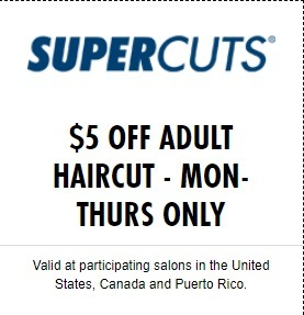 Supercuts Promotion November 2019 $5 Off Adult Haircut