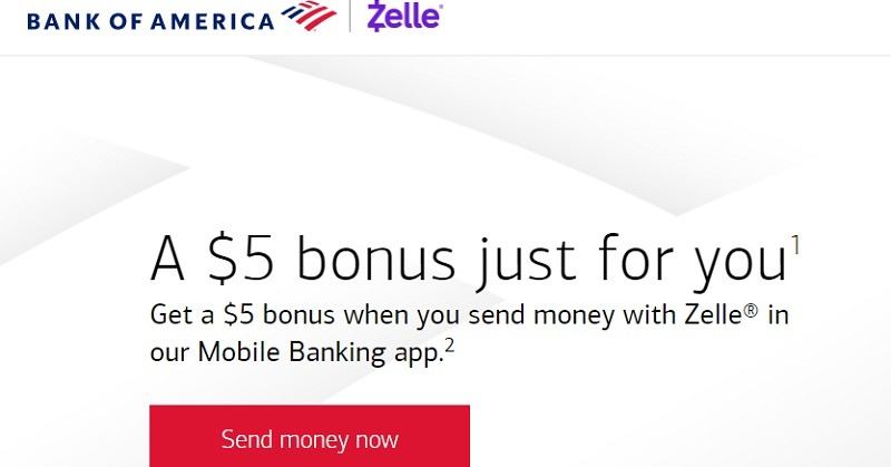 Bank of America Zelle Promotion: Get $5 Bonus when Sending
