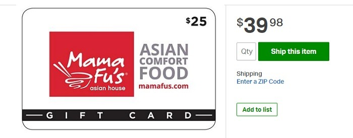 $50 Mama Fu's Gift Card for $39.98