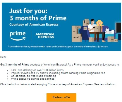 American Express Offers Free 3-Months of Amazon Prime