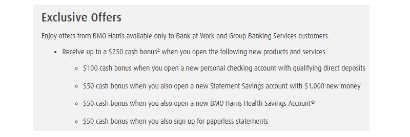 BMO Harris Bank Promotions September 2019: $250, $500