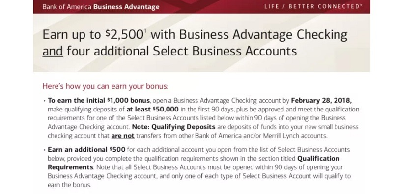 Bank of America Promotions: $100, $300, $500, $600, $2,500