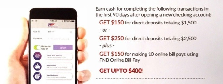 First National Bank $400 Promotion