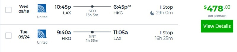 LAX to HKG