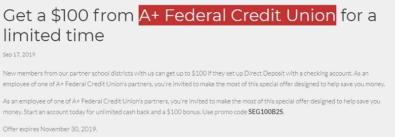 A+ Federal Credit Union Promotion