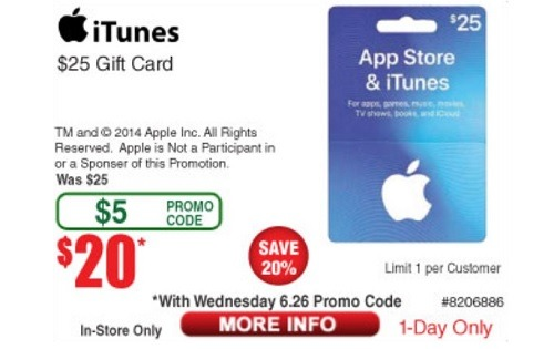 Get $25 Apple & iTunes Gift Card For $20 For A Limite Time