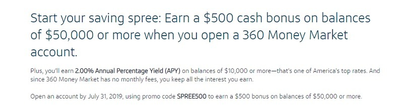 Capital One 360 $500 Promotion