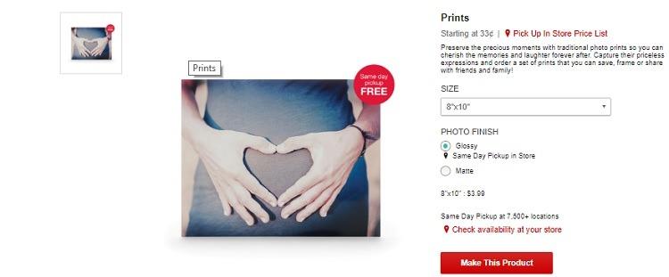 Free 8 x 10 Photo Print from CVS