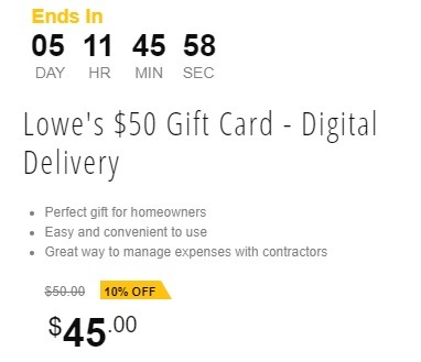 Lowe's $50 Gift Card for $45