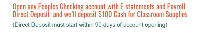 Peoples Bank $100 Checking Promotion