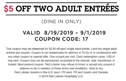 Red Lobster Promotions, Coupons, Discount Codes September 2019