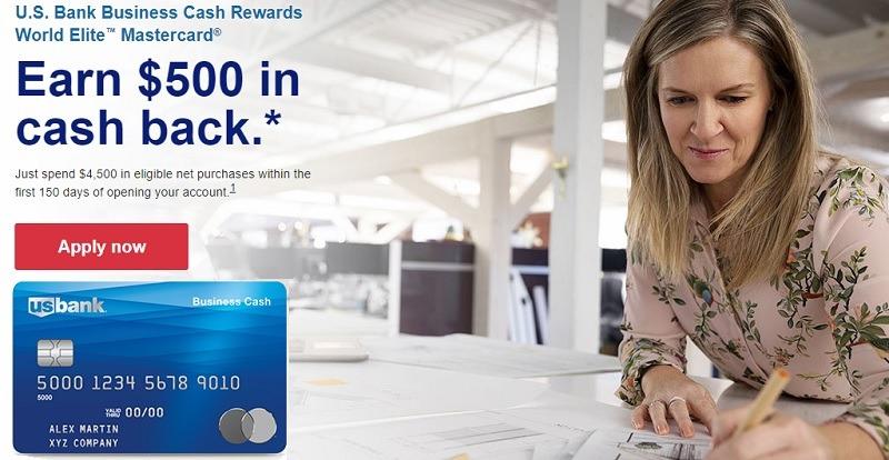 U.S. Bank Business Cash Rewards World Elite Mastercard $500 Bonus