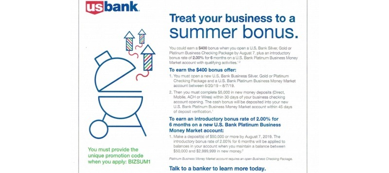 US Bank Promotions September 2019: $200, $300, $400 Checking