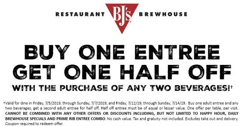 BJ'S BOGO Half Off Entree Coupon