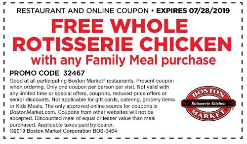 Boston Market Free Rotisserie Chicken Promotion w Family Meal Coupon