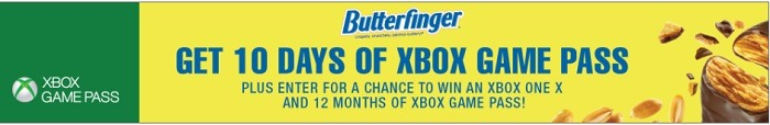 Butterfinger Free Xbox Game Pass Promotion