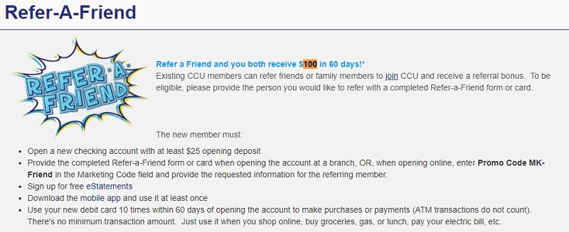 Community Credit Union Florida Referral Promotion
