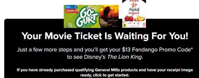 Fandango Movie Ticket w Yoplait yogurt purchase
