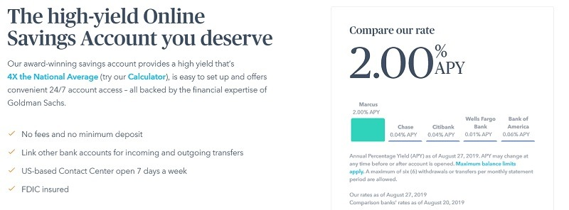 Marcus by Goldman Sachs Online Savings Review: 2 00% APY