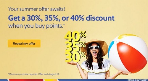 Southwest Rapid Rewards Promotions, Get Up to 40% Off Points
