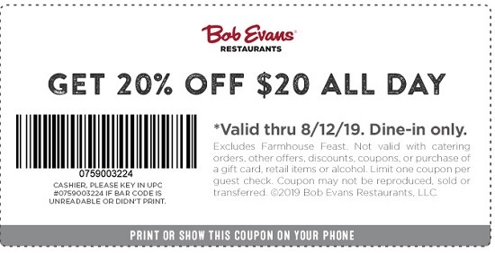 image about Bob Evans Printable Coupons named Bob Evans Offers, Coupon codes, Lower price Promo Codes, Discounts