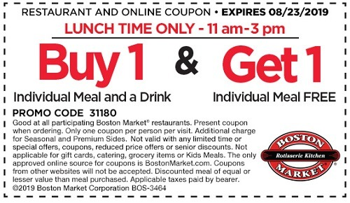 Boston Market VIP Lunch BOGO promotion, valid for a limited time