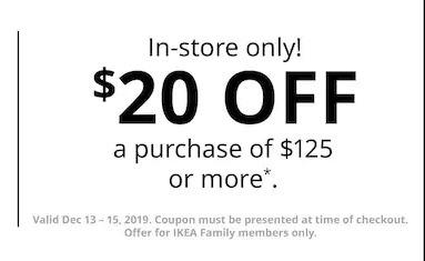 Ikea $20 Off Promotion