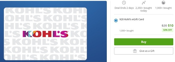 Kohl's $20 Gift Card Promotion