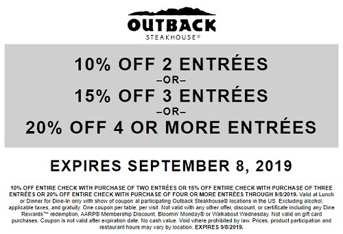Outback Steakhouse Promotion, Promo Code, Discounts