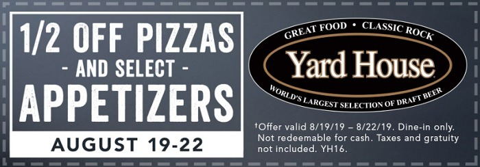 Yard House Half Off Pizzas & Appetizers Coupon Promotion