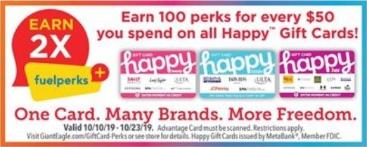 2X Fuel Perks on Every $50 Happy GC Purchase