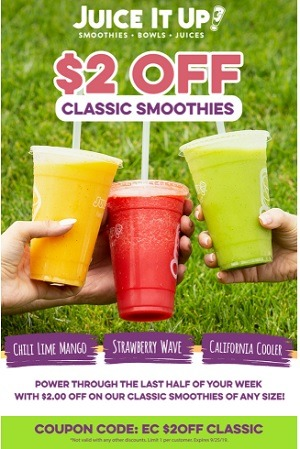 Juice It Up $2 Off Smoothie Promotion