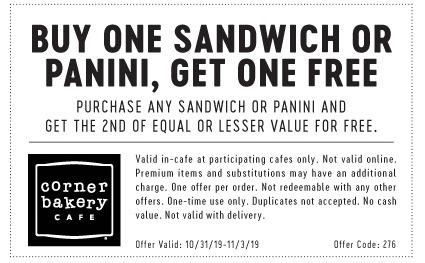 Corner Bakery Cafe Promotions