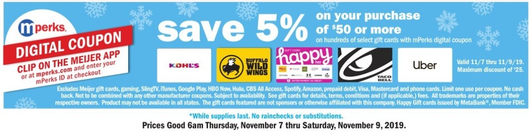 5% Off Select $50 Gift Card Purchase