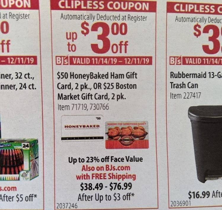 Save Extra On Honey Baked Ham & Boston Market GC's