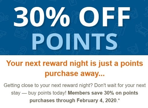 Choice hotels 30 percent off points