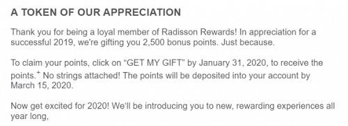 Raddison Free Points Promotion