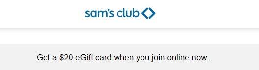 Sam's Club Free $20 GC Promo