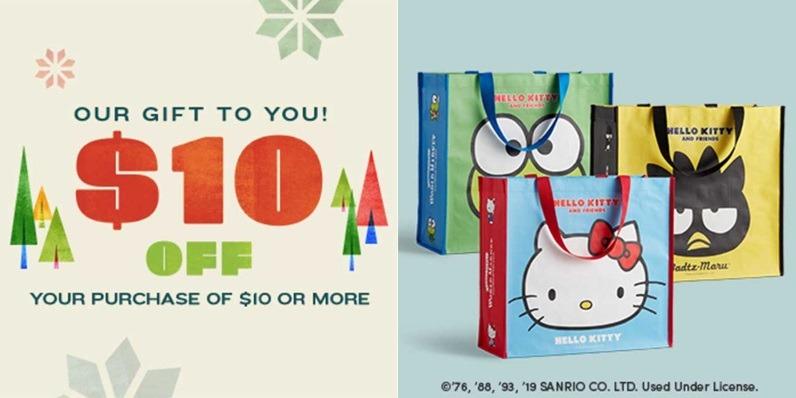 Free $10 Coupon & Sanrio Tote Bag
