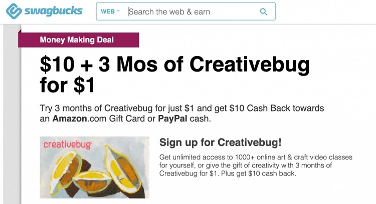 Get $10 Back w/ $1 Creative Bug Subscription