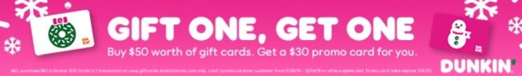 dunkin gift card promo 30 bonus