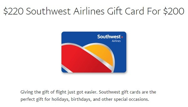 southwest airlines gift card promotion 220 for 200