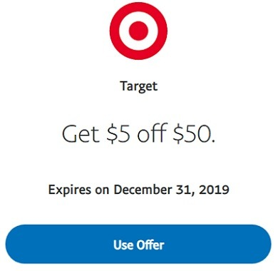 target paypal promotion 5 off 50