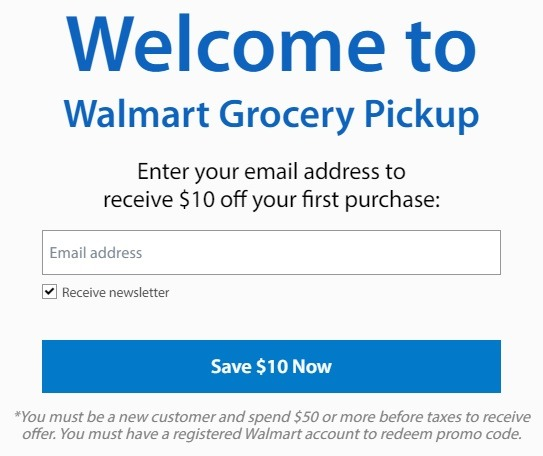 walmart grocery pickup sign up promotion