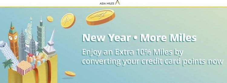 Convert Credit Card Points into Asia Miles, Get Extra 10% Miles Bonus