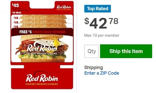 Red Robin 45 gift card for 42.78