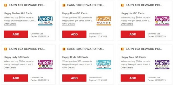 safeway albertsons earn 10x reward points on happy giftcards
